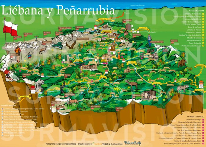 Mapa turístico ilustrado por la Tierra del Roble. Liébana y Picos de Europa.