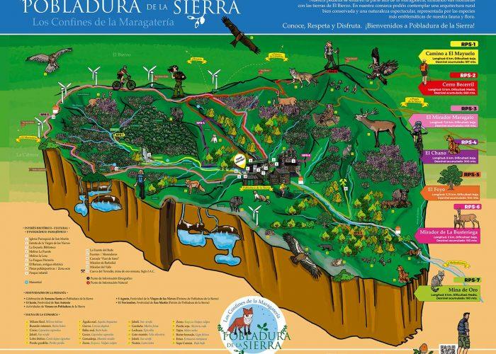 Mapa ilustrado de rutas y naturaleza